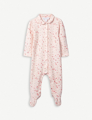 THE LITTLE WHITE COMPANY Floral-print cotton sleepsuit 0-24 months