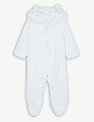THE LITTLE WHITE COMPANY Bear fleece romper 0-24 months