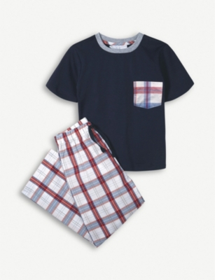THE LITTLE WHITE COMPANY Check pocket pjCheck pocket cotton pyjamas 1-12 years