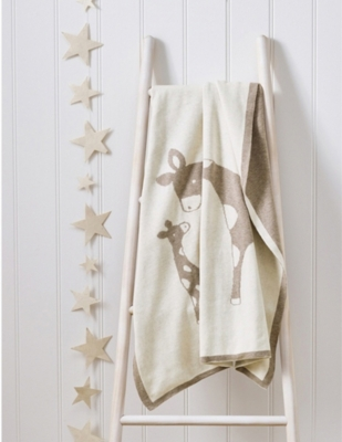 THE LITTLE WHITE COMPANY Giraffe cotton baby blanket