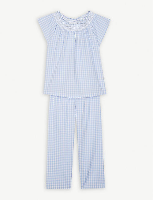 THE LITTLE WHITE COMPANY Gingham cotton pyjama set 1-12 years