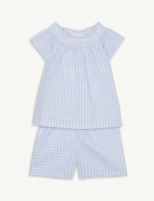 THE LITTLE WHITE COMPANY Gingham check cotton pyjamas 1-6 years