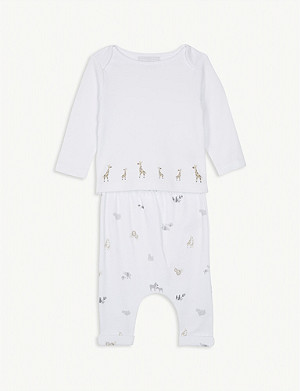 THE LITTLE WHITE COMPANY Giraffe cotton pyjamas 0-24 months