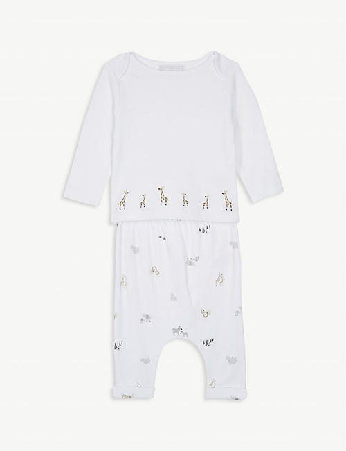 4606481531689 THE LITTLE WHITE COMPANY Giraffe cotton pyjamas 0-24 months