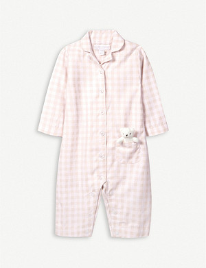 THE LITTLE WHITE COMPANY Gingham cotton sleepsuit with toy 0-24 months