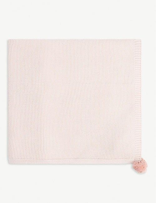 THE LITTLE WHITE COMPANY Pom-pom cotton knit blanket