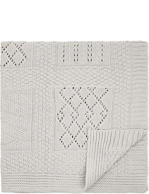 THE LITTLE WHITE COMPANY Patchwork cotton blanket 75cm x 100cm