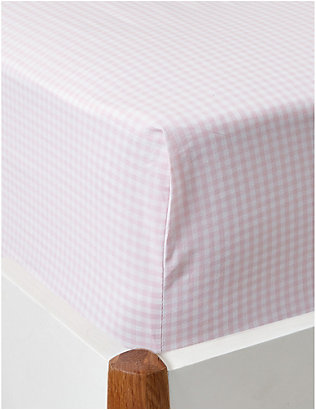 THE LITTLE WHITE COMPANY: Gingham single cotton fitted sheet 90x190cm