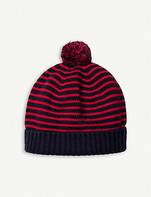 THE LITTLE WHITE COMPANY Striped cotton pom-pom hat
