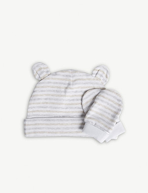 THE LITTLE WHITE COMPANY Striped cotton hat and mittens set