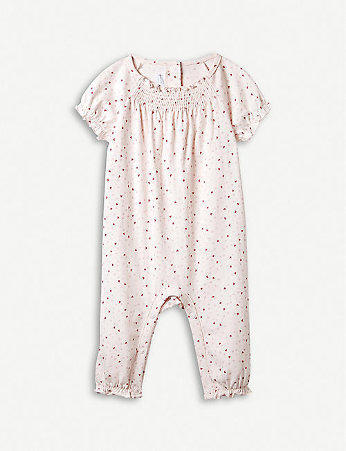 7da3a8669 THE LITTLE WHITE COMPANY Heart-print smocked cotton baby-grow 0–24 months