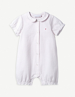 dfd67fb8d5bac THE LITTLE WHITE COMPANY · Striped cotton-seersucker baby-grow 0–24 months