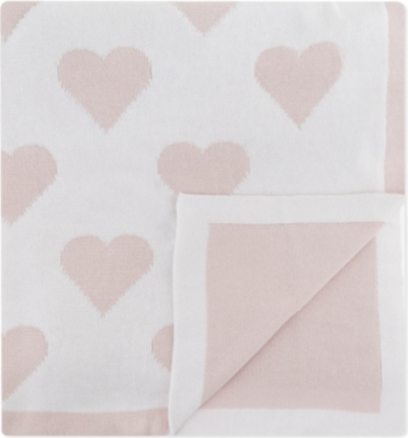 THE LITTLE WHITE COMPANY Reversible heart-pattern baby blanket