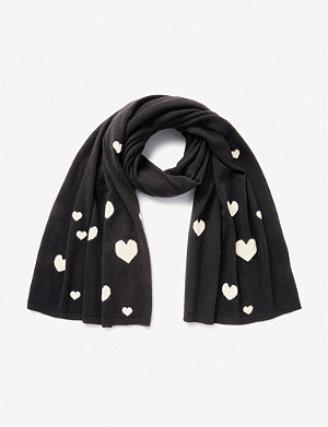 THE WHITE COMPANY Heart-print cashmere scarf