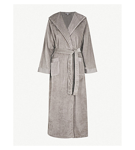 THE WHITE COMPANY Hooded cotton-towelling robe (Graphite fc308ab23