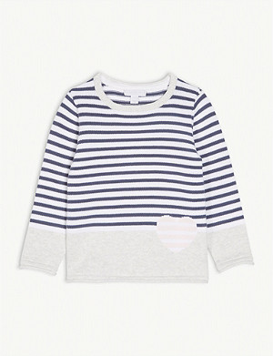 THE LITTLE WHITE COMPANY Stripe cotton jumper 1-6 years