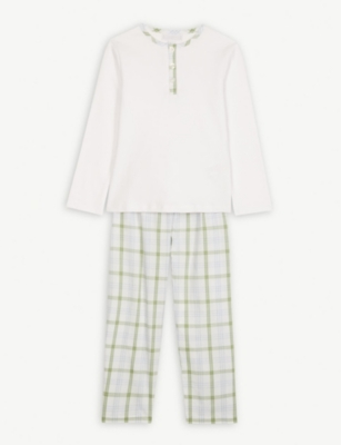 THE LITTLE WHITE COMPANY Henley check cotton pyjama set 1-12 years