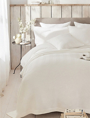 THE WHITE COMPANY Herringbone weave double cotton bedspread 240cm x 250cm