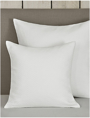 THE WHITE COMPANY Herringbone weave medium cotton cushion cover 50cm x 50cm