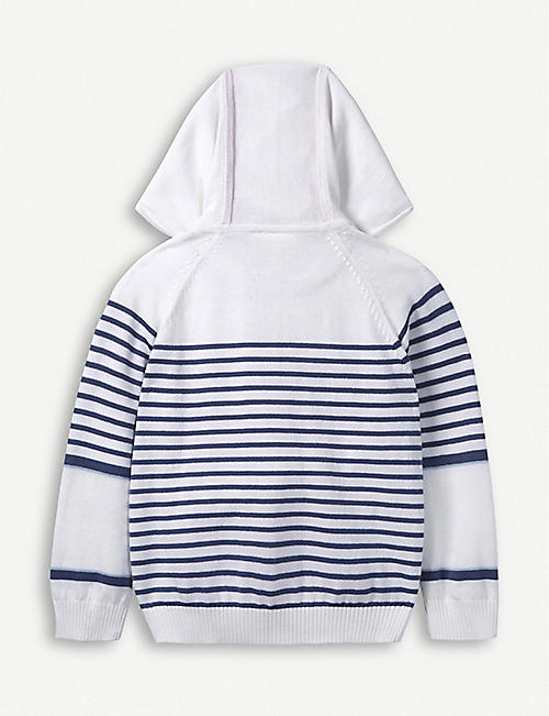 THE LITTLE WHITE COMPANY Striped cotton hoody 1–6 years