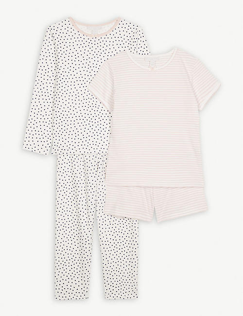 THE LITTLE WHITE COMPANY Heart and stripe cotton pyjamas set of two 1-6  years 09648fea5