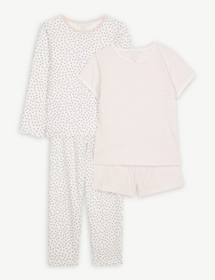 THE LITTLE WHITE COMPANY Heart and stripe cotton pyjamas set of two 1-6 years