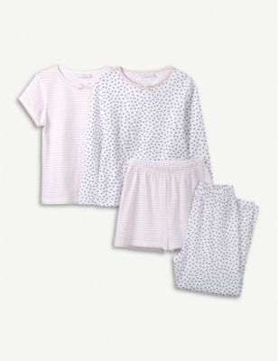 THE LITTLE WHITE COMPANY Heart and stripe cotton pyjamas set of two 7-12 years