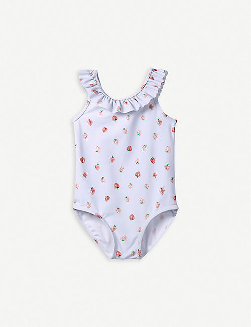 THE LITTLE WHITE COMPANY Frill-trimmed floral-print swimsuit 1-6 years