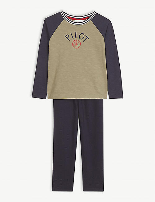 THE LITTLE WHITE COMPANY Pilot cotton T-shirt and jogging bottoms 1-6 years