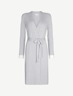 THE WHITE COMPANY Lace-trim jersey dressing gown