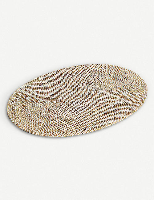 THE WHITE COMPANY: White washed rattan oval placemat 48x36cm