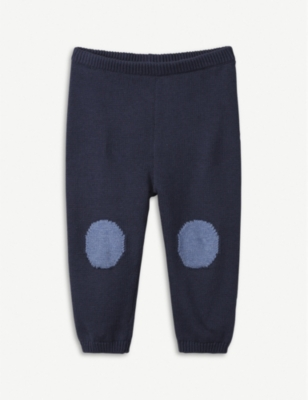 THE LITTLE WHITE COMPANY Knee patch cotton and wool-blend leggings 0-24 months
