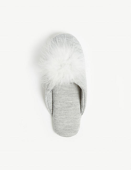 THE WHITE COMPANY Knitted feather pom mule slippers