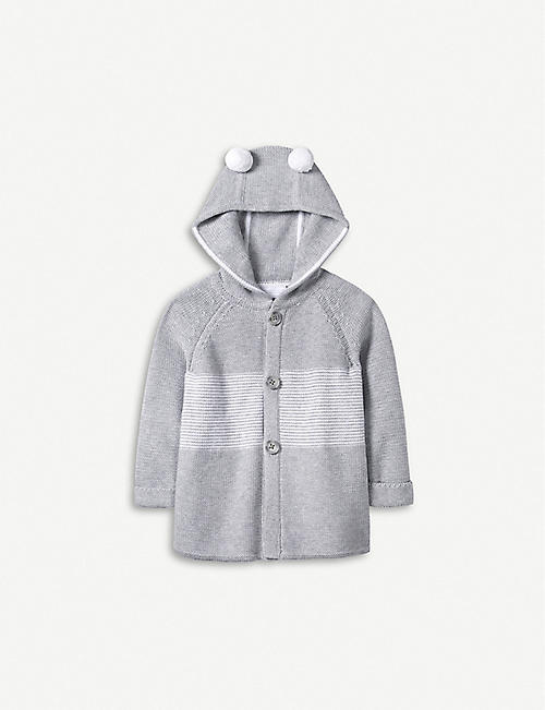 THE LITTLE WHITE COMPANY Pompom-detail knitted coat 0-24 months
