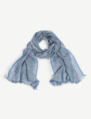 THE WHITE COMPANY Raw-hem linen-blend scarf