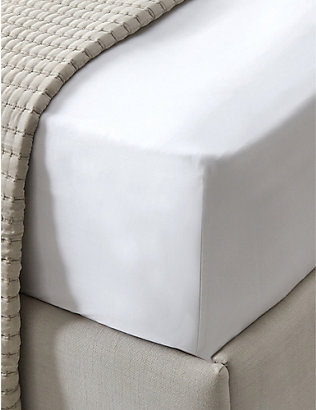 THE WHITE COMPANY: Connaught cotton and silk-blend double deep fitted sheet