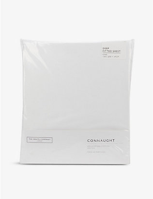 THE WHITE COMPANY: Connaught cotton and silk-blend king deep fitted sheet