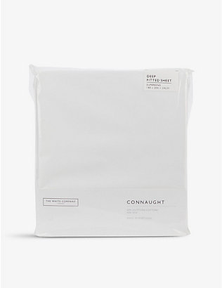 THE WHITE COMPANY: Connaught cotton and silk-blend super king deep fitted sheet