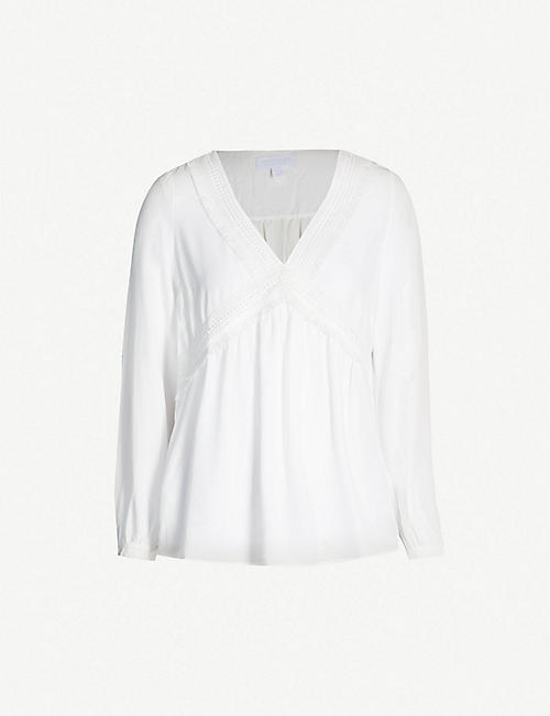 THE WHITE COMPANY V-neck lace-insert crepe blouse