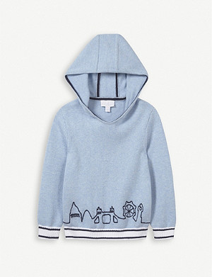 THE LITTLE WHITE COMPANY London Skyline cotton hoody 1-6 years