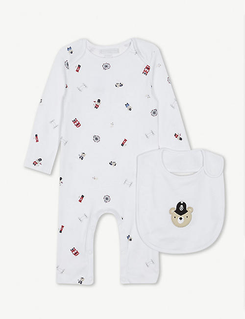 24267b6040b3 THE LITTLE WHITE COMPANY London cotton sleepsuit and bib set 0-24 months