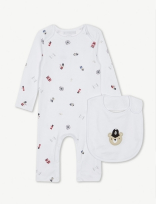 THE LITTLE WHITE COMPANY London cotton sleepsuit and bib set 0-24 months