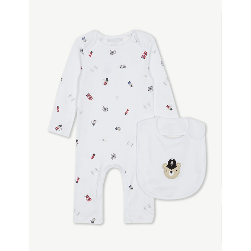 THE LITTLE WHITE COMPANY | London Cotton Sleepsuit And Bib Set 0-24 Months | Goxip