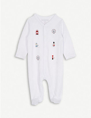 THE LITTLE WHITE COMPANY: London landmark embroidered sleepsuit 0-24 months