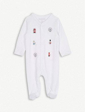 THE LITTLE WHITE COMPANY London landmark embroidered sleepsuit 0-24 months