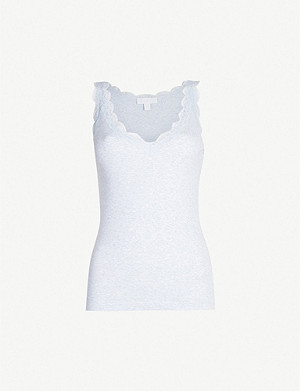 THE WHITE COMPANY Lace-trimmed cotton vest