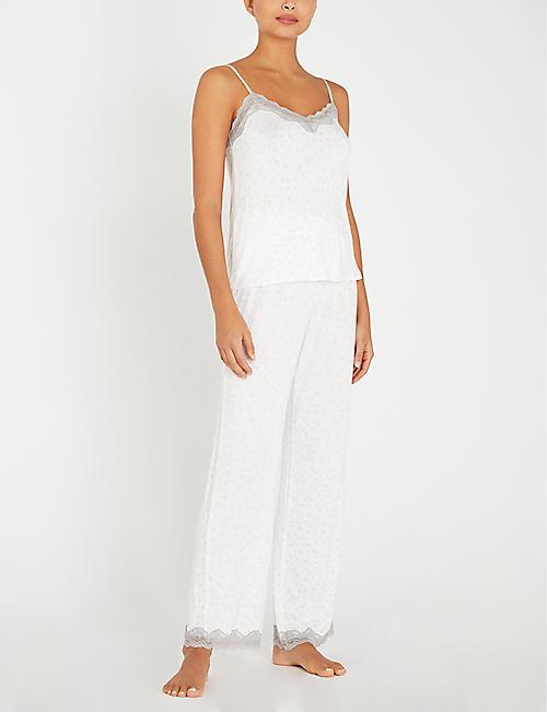 f32c4f806b26e THE WHITE COMPANY Lace-trimmed branch-print jersey pyjama set
