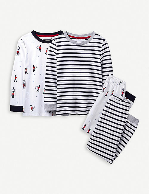THE LITTLE WHITE COMPANY London and Stripes cotton pyjamas set of two 1-12 years