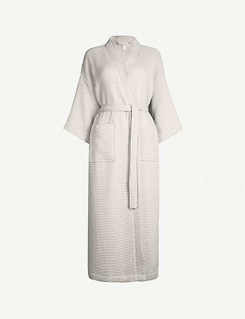 THE WHITE COMPANY Lightweight waffle-weave cotton-blend dressing gown