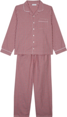 THE LITTLE WHITE COMPANY Mini gingham patterned cotton pyjamas 7-12 years
